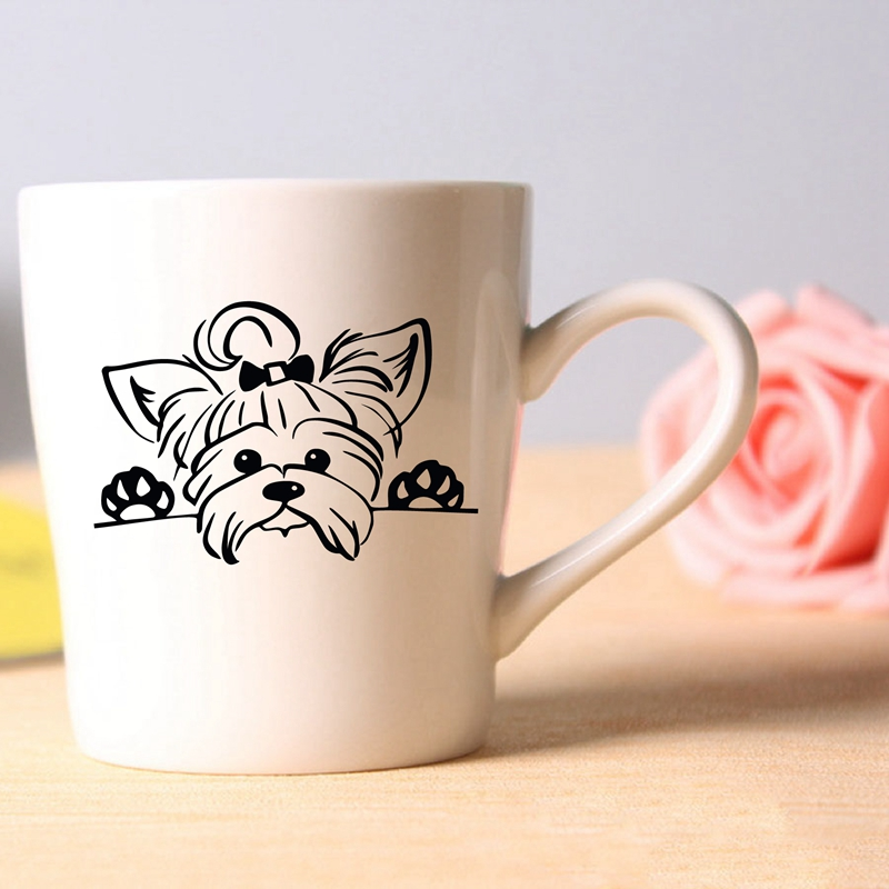 Yorkshire Terrier Sticker Teacup Decor