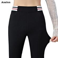 дешево!  Aselnn2017 Женщины в полоску шить брюки-карандаш случайные черные эластичные талии узкие брюки женск