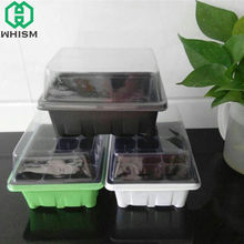 WHISM Plastic Nursery Pots Plant Seeds Germination Tray Hydroponic Grow Box Flower Pot Seedling Tray Succulent Planter with Lids(China)