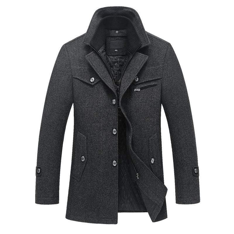 2018 Warme warme herfst en winter van hoge kwaliteit herenjack stiksels heren casual wollen jas gratis verzending