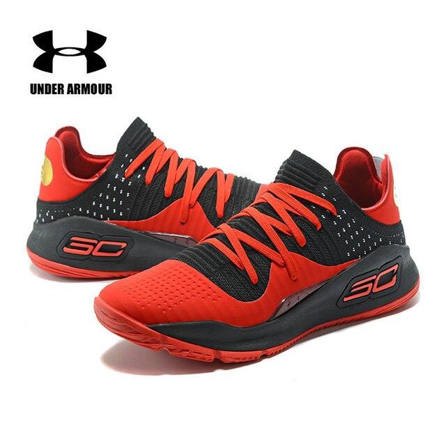 2018 Baru Under Armour Pria AU Curry 4 Olahraga Basket Sneakers Pria Lampu Outdoor Atletik Desain Bantalan Sepatu