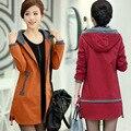 Senhoras Blusão versão Coreana das mulheres do sexo feminino trincheira casaco plus size outono inverno slim fina casaco maré kadin mont CT151