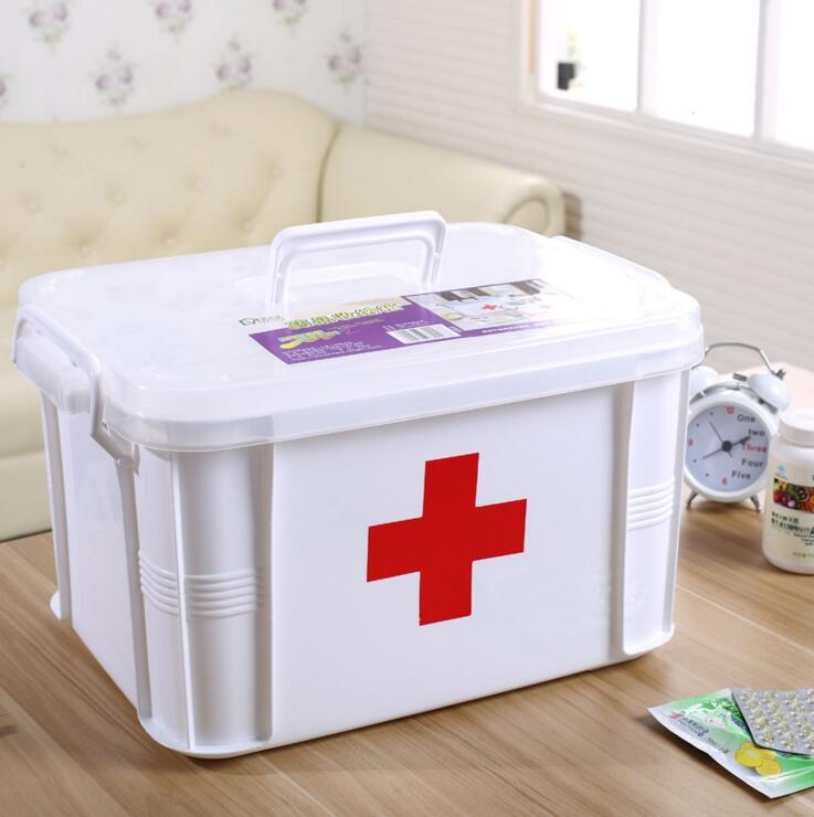 SBJ9-Free Shipping 3M Large household first aid kit Multilayer plastic family medicine k ...