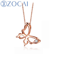ZOCAI Choker Butterfly 0.01 CT Certified H / SI Diamond Pendant 18K rose Gold (Au750) 925 Silver Chain D80021T