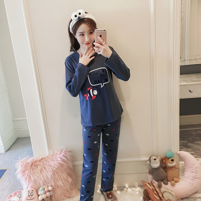 New Spring Autumn Long Sleeved Cotton Women's   Pajamas     Set   Cartoon Suit Sleepwear Girls Pyjamas Lady Casual Home Clothing