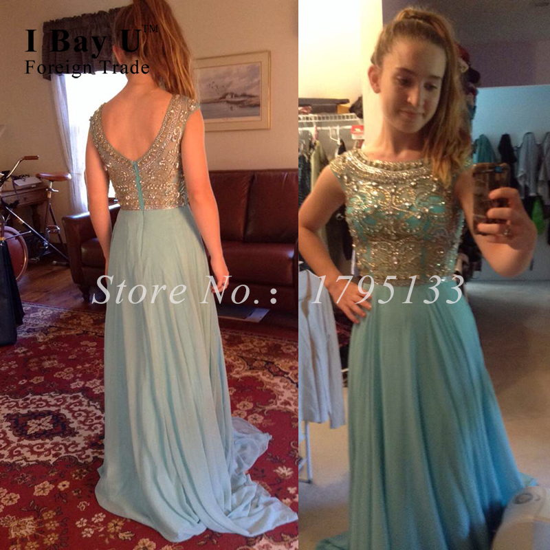 Golden Sparkling Beaded Prom Dresses Graduation Gown Dazzing Crystal