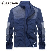 S.ARCHON Quick Dry Jackets Men Summer Lightweight Solid Jacket Coat Tactical Skin Jackets Men Casual Sun proof Outwear Clothing
