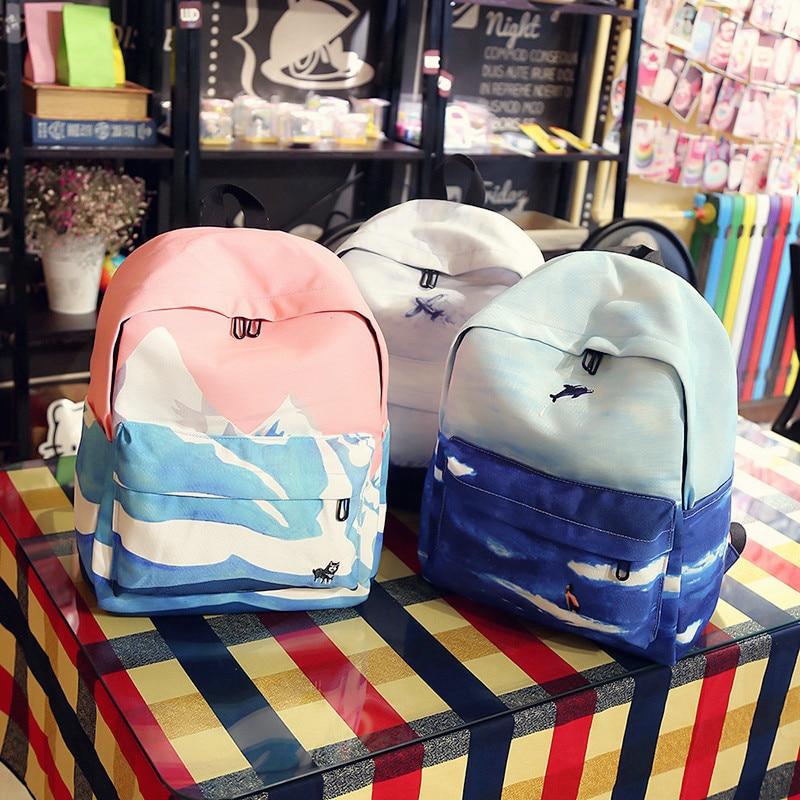 Preppy Style Brand Canvas Printing Backpack Women Schoolbags For Teenage Girls Cute Rucksack Vintage Laptop Mochila
