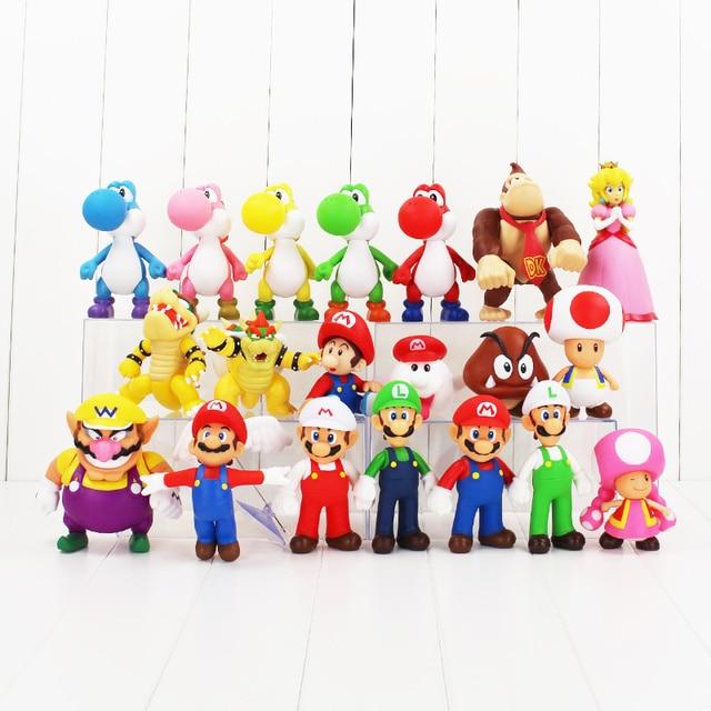 20 estilos anime Super Mario Bros figura de Bowser Koopa Yoshi Mario Luigi de melocotón de PVC super mario juguetes de los niños regalo