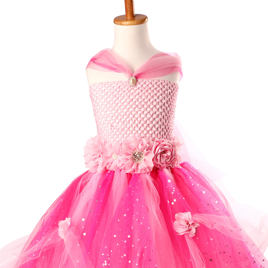 Beautiful Princess Tutu Gown for Weddings Birthday Dress Baby Girl Flower Tutu Dress Glittery Children Fancy Party Christmas Costumes (4)