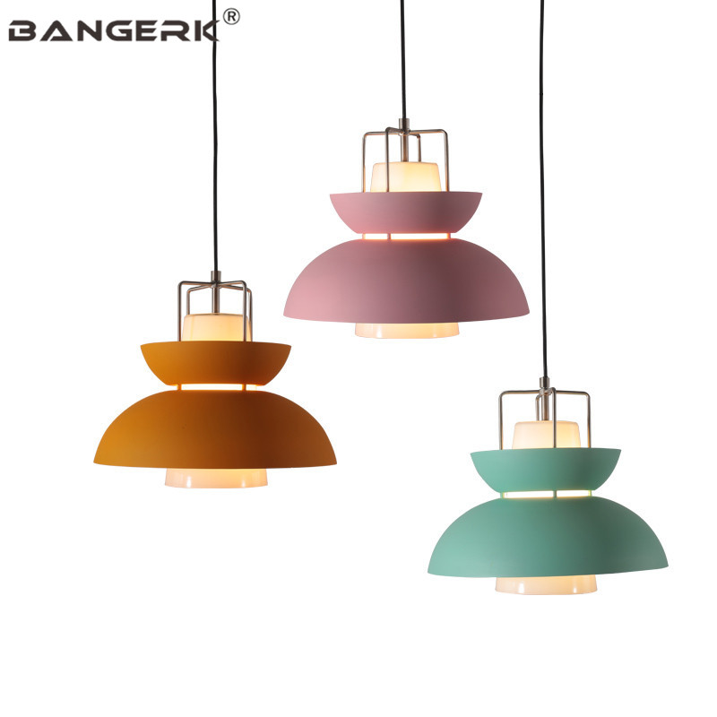 Nordic Design Loft Lamps Modern LED Pendant Light Iron Glass Color Macarons Hanging Lamp Pendant Lighting Home Decor Lights