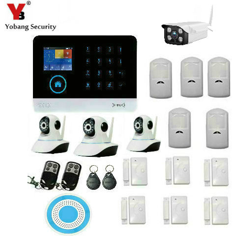 Yobang Security WiFi RFID GSM GPRS Wireless Home Burglar Alarm System APP Remote Control Outdoor Indoor Video IP Camera цена