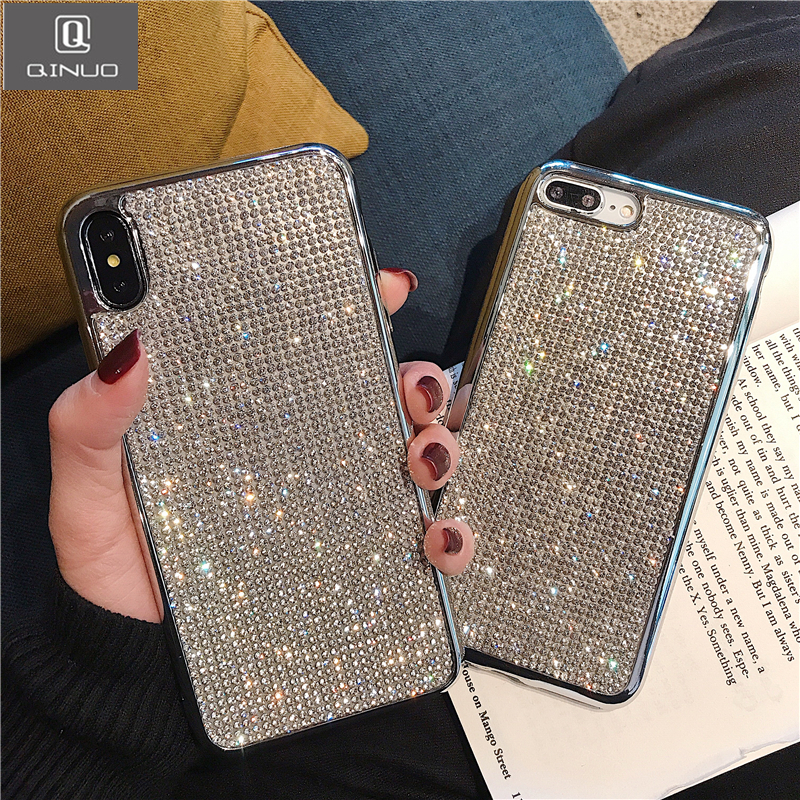 3D Diamond Bling Phone Case For iphone 7 8 X XR XS MAX Shining Glitter Rhinestones Cover For iphone 6S 6 7 8 Plus Jewelled Coque(China)