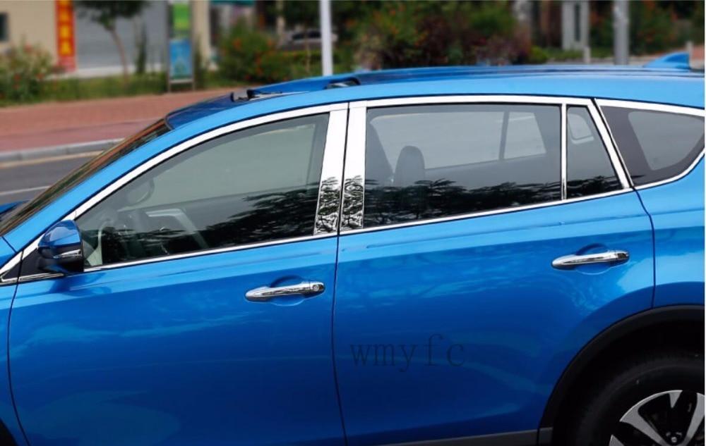 Fit For Toyota RAV4 2016 2017 2018 car stick stainless steel glass window garnish pillar middle column strip trim streamer 22pcs stainless steel door side body garnish molding cover trim for toyota rav4 2014 2017 exterior decor strip car styling accessories