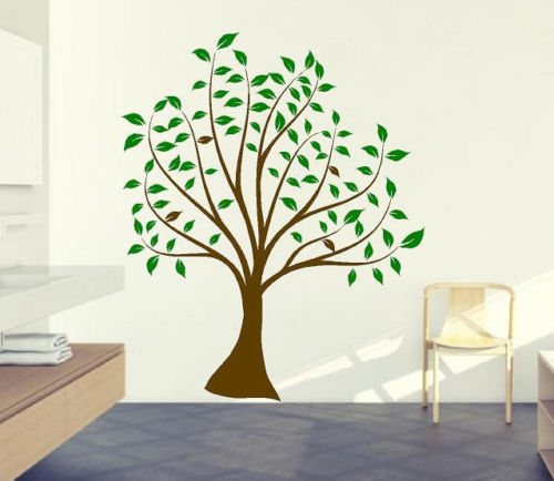 Baby nursery tree wall sticker green leaves brown tree for Diy tree wall mural