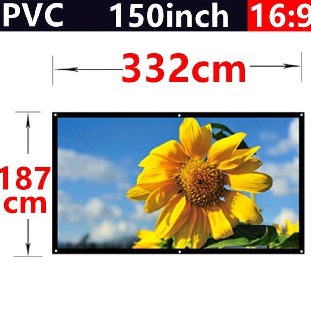 Venda da fábrica 150 Polegada 16:9 Tecido PVC Mate Com um Ganho de 1.1 Fixado Na Parede da tela de projeção para hd home theater 3d frete grátis