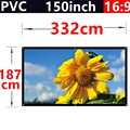 factory sale 150 Inch 16:9 PVC Fabric Matte With 1.1 Gain projection screen Wall Mounted for hd 3d home theater free shipping