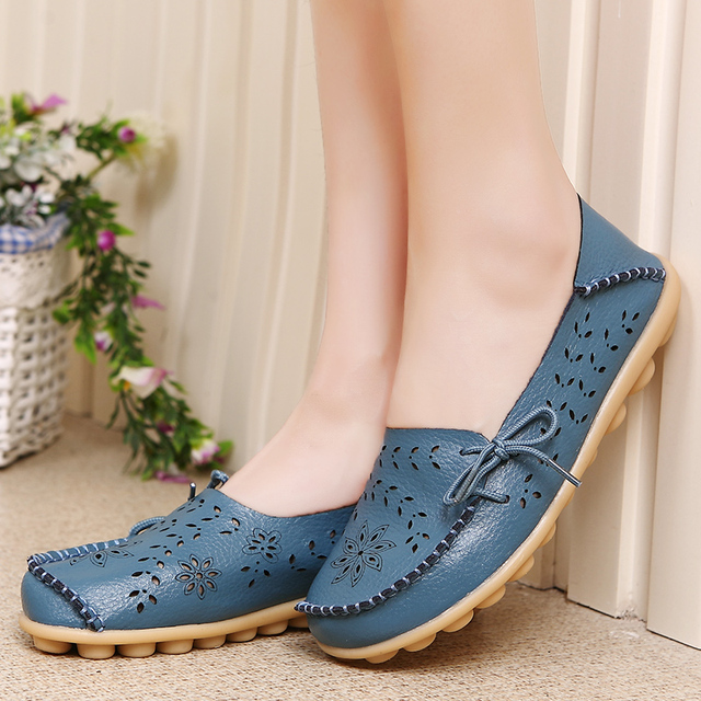 Flower Punctured Leather Shoes