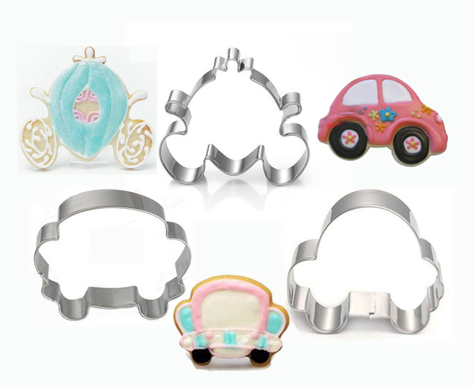 Three shape cars stainless steel cookie mould 3 pieces/set