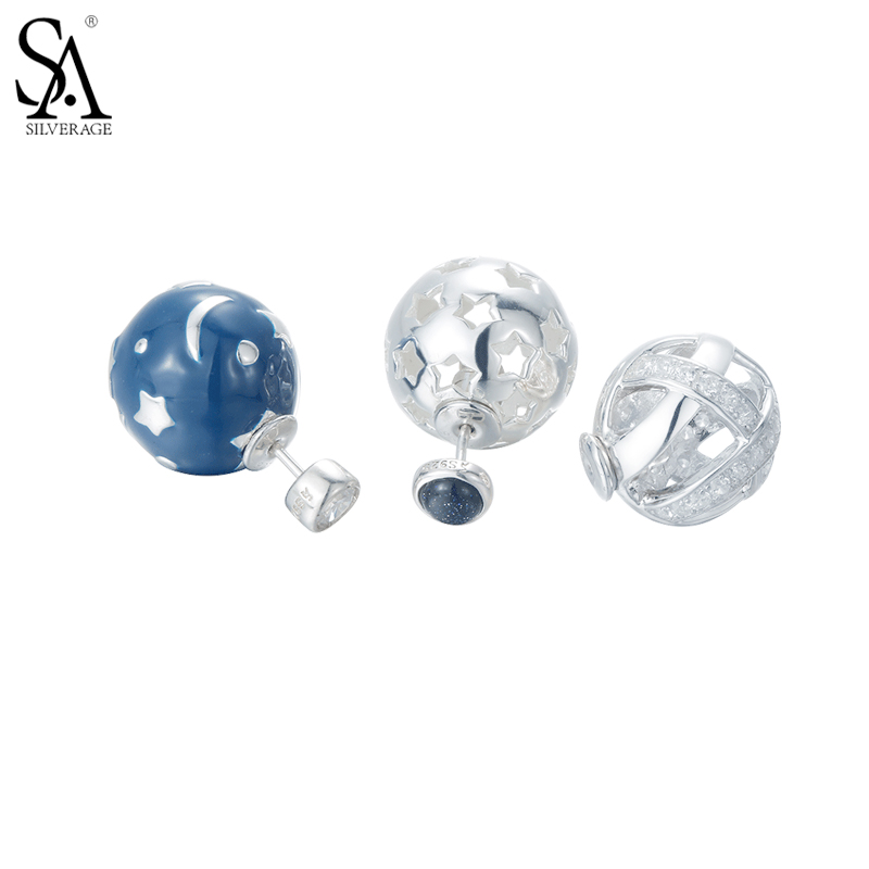 все цены на SA SILVERAGE New Design 3Pcs Real 925 Sterling Silver Stud Earrings Fine Jewelry for Women Blue Star Ball Double Sided Earring онлайн