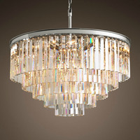 Lustre LED Ring Vintage Loft Glass K9 Crystal Chandelier Lighting Fixtures Lights for Bedroom Living Room Kitchen