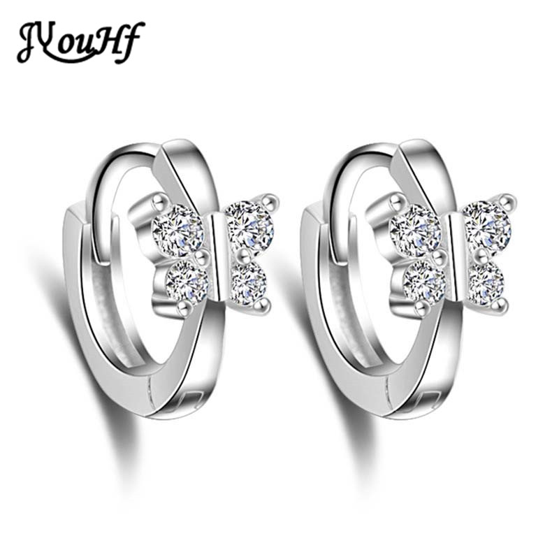 JYouHF High Quality 925 Sterling Silver Crystal Earrings Women Jewelry Hot Sale Butterfly Stud Earrings Female Bijoux Aretes