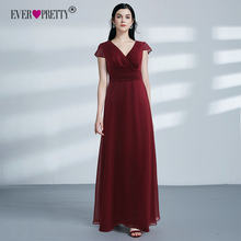 Burgundy Bridsmaid Dresses 2018 Ever Pretty EZ07583BD Elegant A Line V Neck Long Wedding Guest Gowns Robe Demoiselle D'honneur(China)