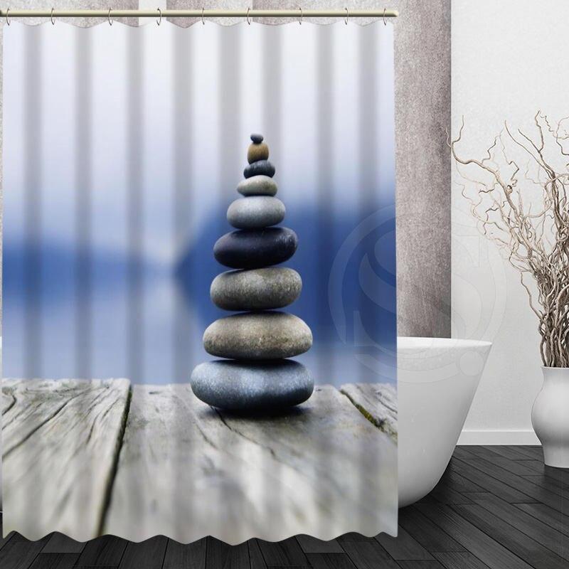 Personalized Mondern Style Spa Stone Bath Curtain Pattern