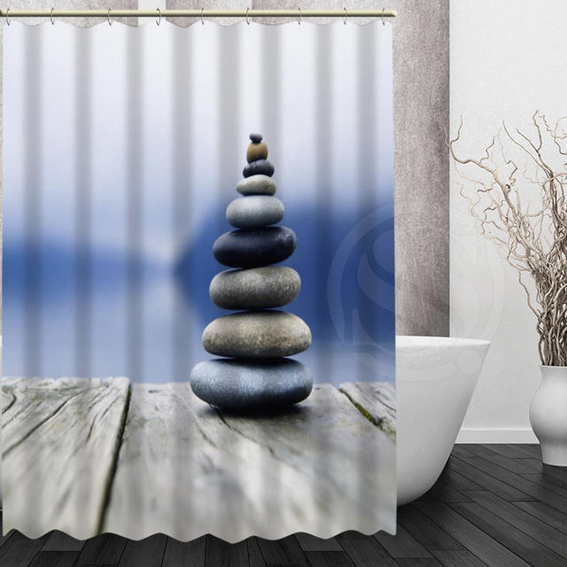 Personalized Mondern Style Spa Stone Bath Curtain Pattern Customized Latest Shower Fabric For Bathroom Curtains