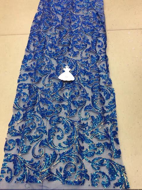 Royal blue Gold African lace fabric with glitter High Quality ...
