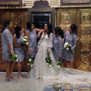 Image 4 - גלימות De Mariage 2020 יוקרה ואגלי תחרה חתונה שמלה ארוך שרוולי תחרת אפליקציות כלה שמלת חתונת שמלת Vestido Novia