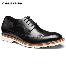 CHAMARIPA Increase Height 6.5cm/2.56 inch Men Elevator Shoe Black Gentlemen Leather Shoes Brogue Oxfords High Heel Shoes Taller