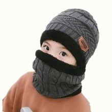 Parent-child cap 2pcs ski and scarf cold warm leather winter hat for boys girls Knitted Bonnet Warm Cap Skullies Beanies