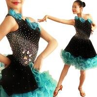 Concorso di Danza latino Gonna 2017 Nuovo Disegno Diamanti Elengant Lussureggiante Tango Runba Latino Gonna Per Le Ragazze