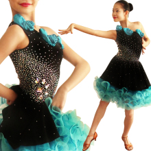 Latin Dance Competition Skirt 2017 New Design Diamonds Elengant Luxuriant Tango Runba Latin Skirt For Girls