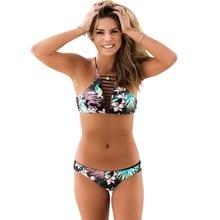 High Neck Swimwear 2017 Summer Women Sexy Floral Print Bikini Set Hollow Out PaddedSwimsuit Beach Bathing Suit Brazilian Biquini
