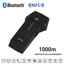 Nueva 1000 M BT NFC FM Función de Radio de La Motocicleta Del Casco de Bluetooth Intercom Headset Interphone Auriculares Para El Teléfono/GPS/MP3