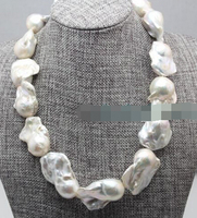HOT N801 Rare HUGE long white baroque keshi reborn genuine PEARL lady's NECKLACE