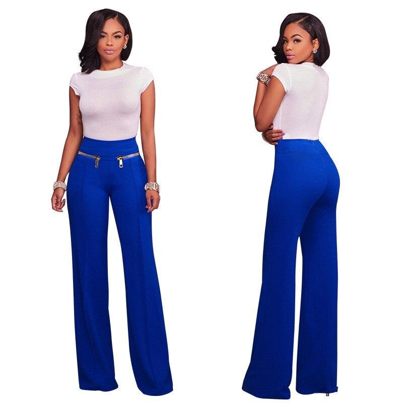 Osituca Comprar 2018 Moda De Cintura Alta Pantalon Ancho Pantalones Mujer Negro Largos Suelta Doble Cremallera Ladies Straight Palazzo Trajes Online Baratos