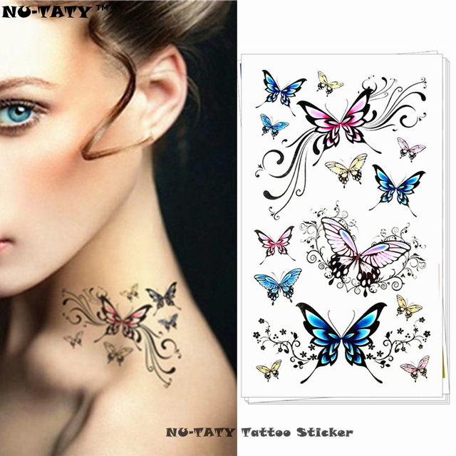 Nu-TATY Poetic Flying Butterfly Temporary Tattoo Body Art Arm Flash Tattoo Stickers 17x10cm Waterproof Fake Henna Painless Tatto