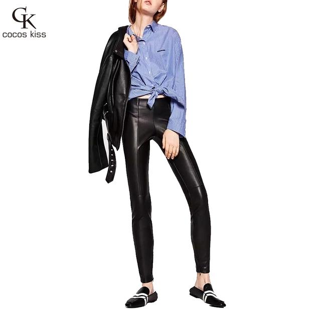 2016 Otoño Invierno Mujeres Pantalones Con Polainas de terciopelo Acolchado 2 Colores Pantalon Femme Leggins Pantalones Mujer pantalones de Cuero de Imitación