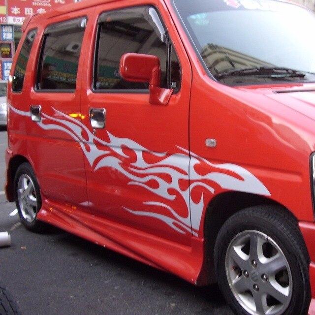 Car fire hot flames racing sports door decals vinyl graphics side stickers 146