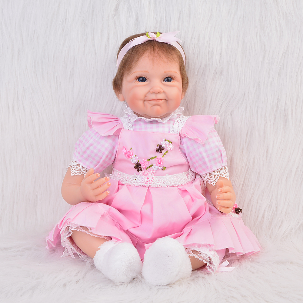 Lovely 22 Inch Reborn Silicone Baby Dolls Newborn Lifelike Babies Doll Toy Handmade Cloth Body Brinquedo Kids Birthday Xmas Gift handmade 22 inch newborn baby girl doll lifelike reborn silicone baby dolls wearing pink dress kids birthday xmas gift