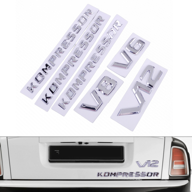 CITALL Car Kompressor V6/V8/V12 Letter Sticker Emblem Badge Self Adhesive Decoration Decal Luxury Customized
