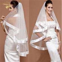 60cm X 80cm Wholsale Simple Tulle Wedding Veils Two Layer Ribbon Edge Bridal Accesories White Ivory ACCESORIES OV3001