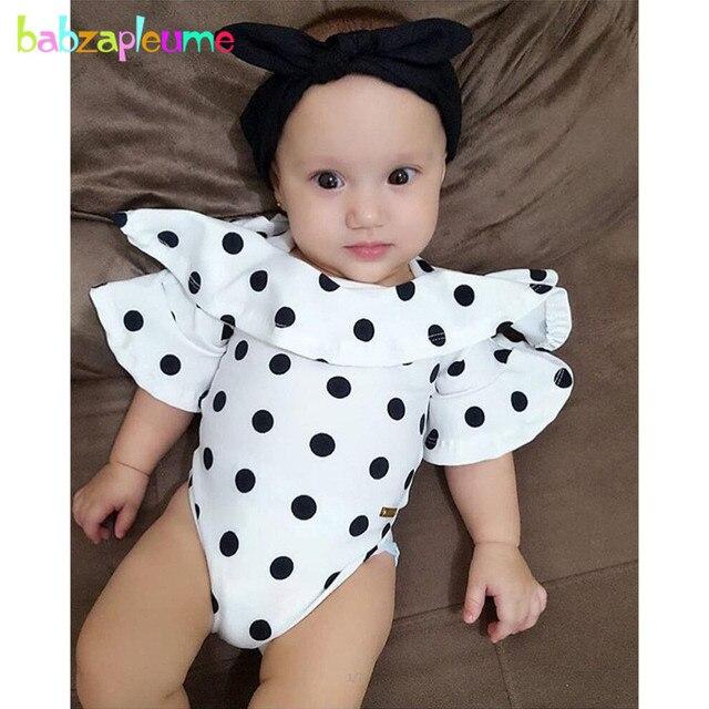 f8ea3f8910f28 babzapleume Summer Newborn Bodysuits Cute Princess 1st Birthday Twins Baby  Clothes Dot Cotton Jumpsuit Infant Clothing BC1047-1