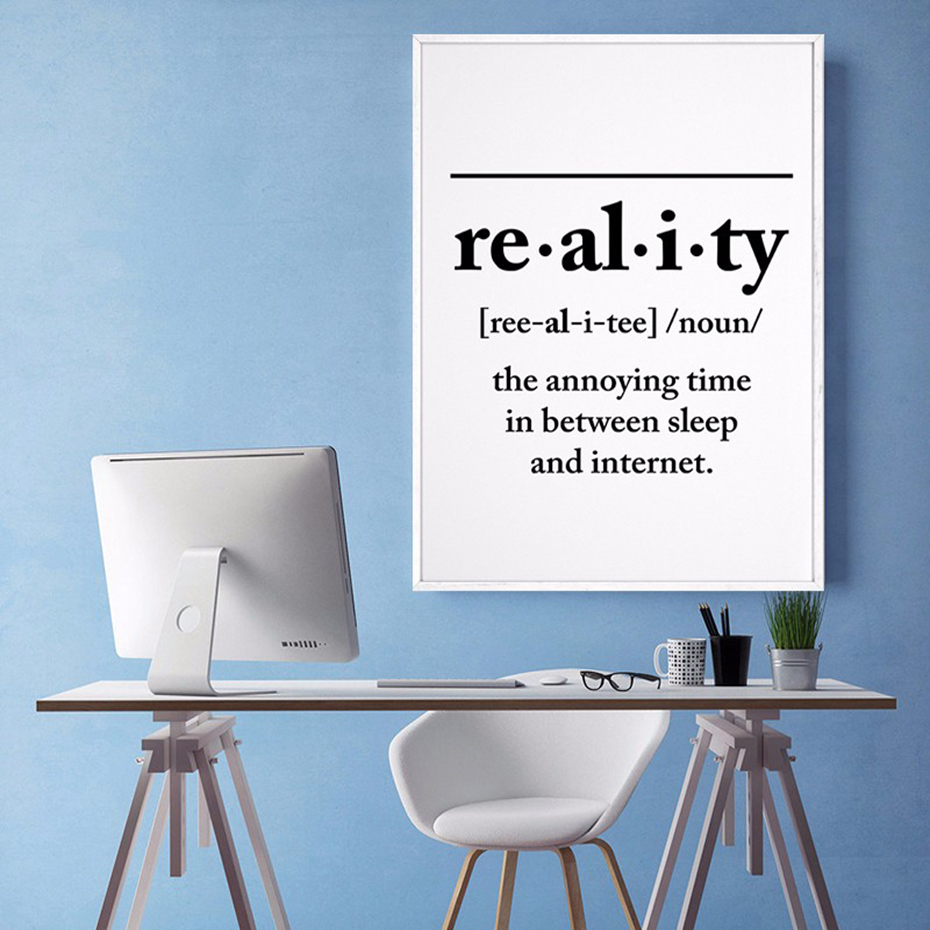 Reality Definition Wall Art Black Posters And Prints Funny