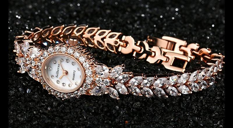 16 50M Waterproof Selberan Gold/Silver Natural Zircon Wrist Watch for Women Luxury Ladies Bracelet Watch Montre Femme Strass 21