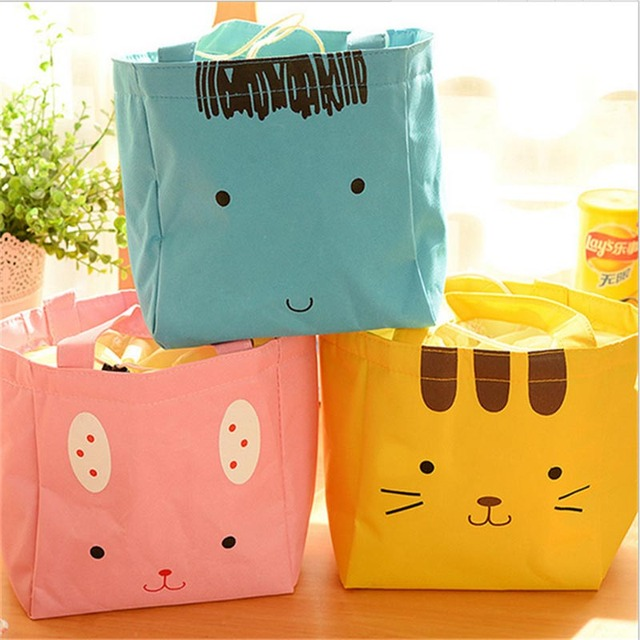 New Women Cartoon Portable Thermal Lunch Box Oxford Cloth Bag Picnic Cooler Bag Insulated Lunch Bag For Kids High Quality 40