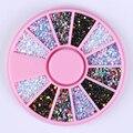 1 Caja de 1mm Cuentas de Colores Del Clavo 3D Decoración Oblea Color Mezclado Redondo DIY Manicura Del Arte Del Clavo Accesorios
